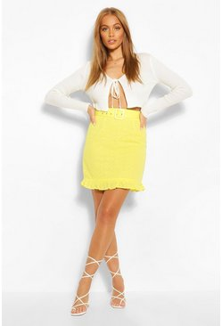 Yellow Broderie Belted Mini Ruffle Hem Mini Skirt