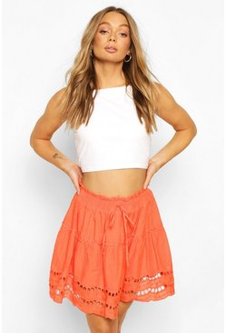 Orange Broderie Anglaise Hem Flippy Skirt