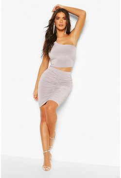 Grey Slinky One Shoulder Crop Top & Mini Skirt