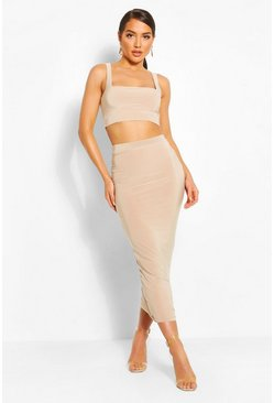 Stone Slinky Square Neck Bralet & Midiaxi Skirt Co-ord