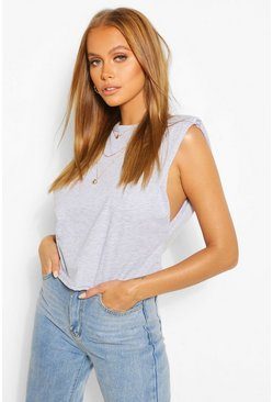 Grey marl Shoulder Pad Tank Top