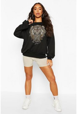 Black Tiger Beaded Sweat Top
