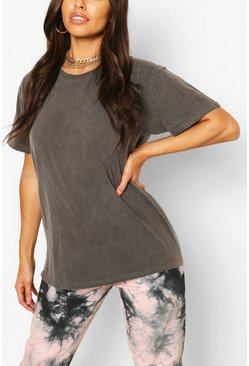 Oversized T-Shirt in Washed-Optik, Anthrazit