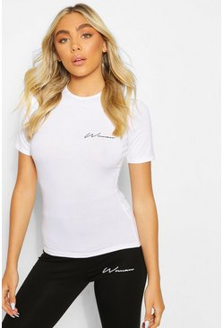 White Woman Print Slim Fit Top