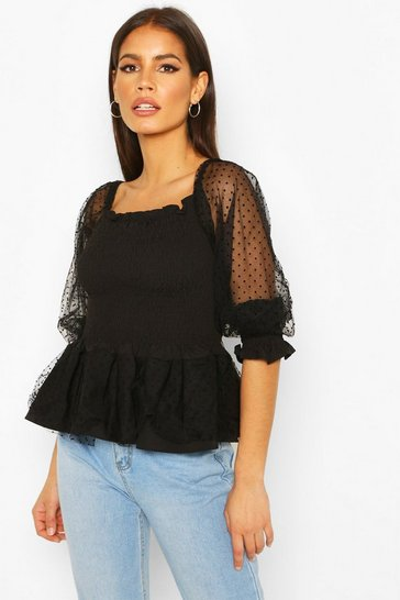 Black Dobby Mesh Puff Sleeve Shirred Peplum Top
