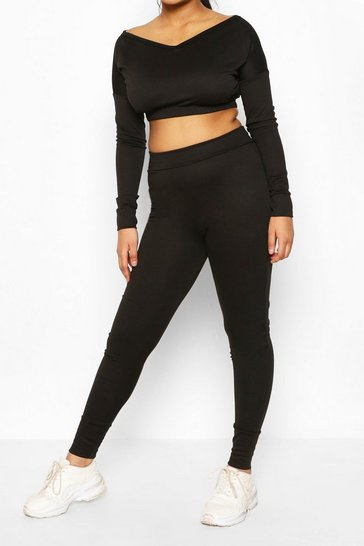 Black V Neck Sweat & Legging Set