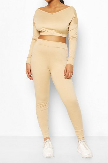 Stone V Neck Sweat & Legging Set