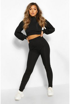 Black High Neck Balloon Sleeve Tracksuit Set