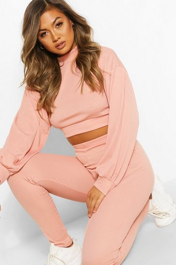 Rose High Neck Balloon Sleeve Tracksuit Set