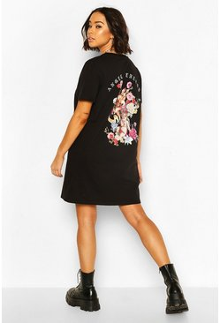 Cherub Slogan Back Print T-Shirt Dress, Black