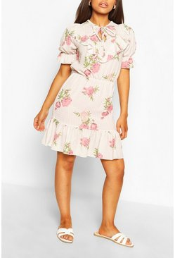 Pink Floral Spot Print Ruffle Tea Dress