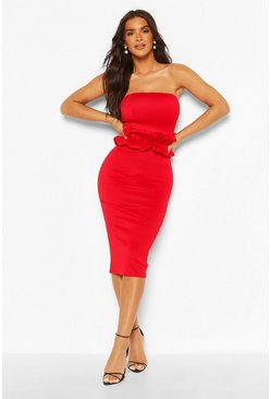 Red Ruffle Waist Bandeau Midi Dress