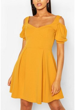 Mustard Cold Shoulder Cup Detail Skater Dress