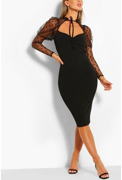 Black Dobby Mesh Puff Sleeve Midi Dress