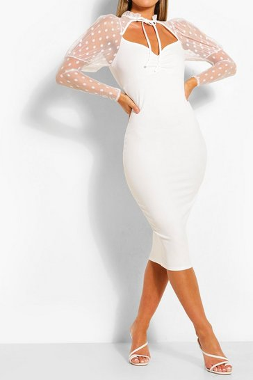 Ivory Dobby Mesh Puff Sleeve Midi Dress