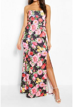Black Floral Print Shaped Bandeau Thigh Split Maxi Dress