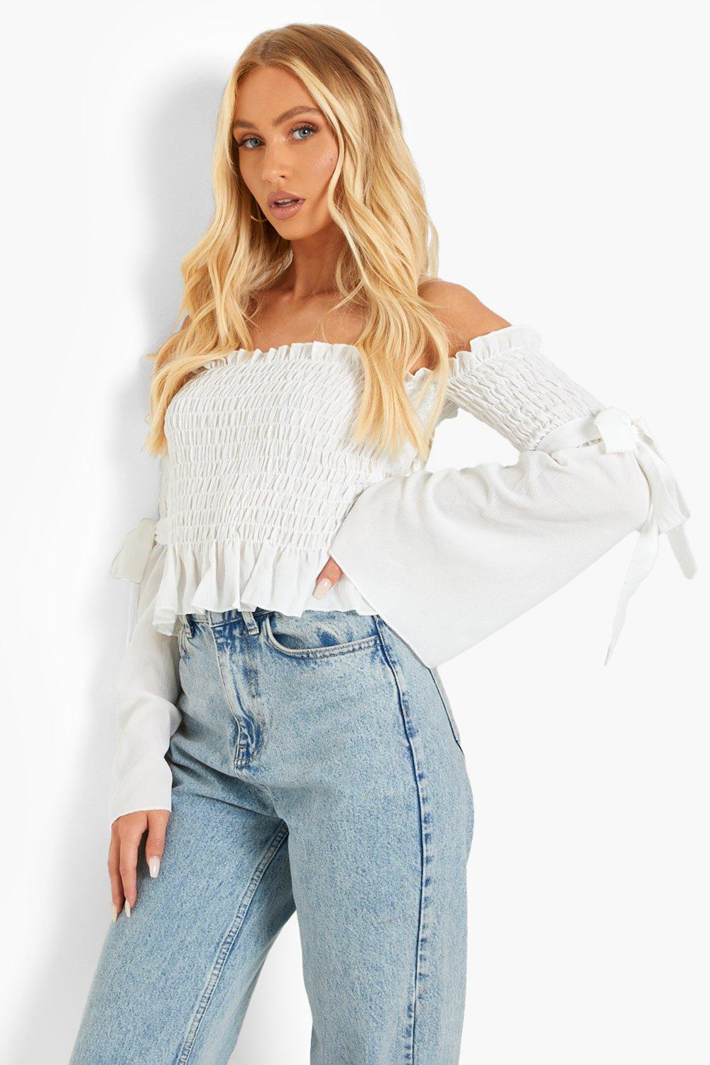 Women's 70s Shirts, Blouses, Hippie Tops Womens Woven Shirred Flared Sleeve Off The Shoulder Top - White - 12 $12.50 AT vintagedancer.com