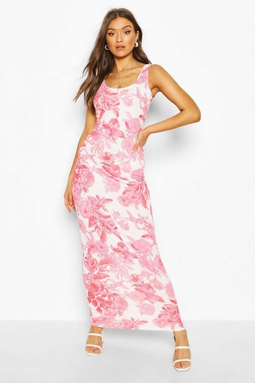 Red Large Scale Floral Maxi Dress
