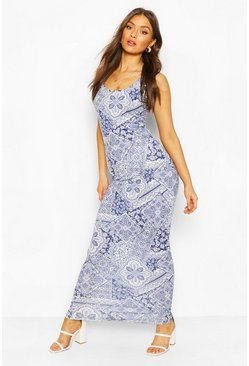 Blue Tile Print Maxi Dress