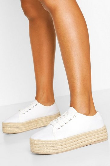 White Raffia Platform Canvas Trainers