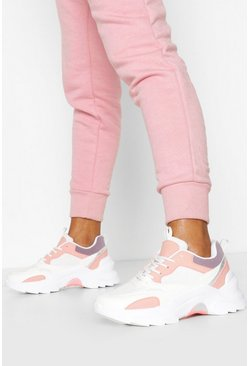 White Chunky Colour Block Sneakers