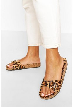 Leopard Single Strap Footbed Sliders