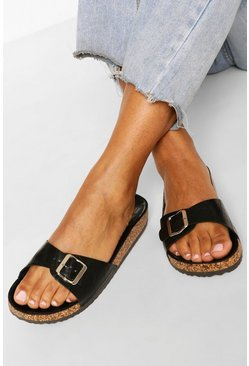 Black Croc Single Strap Footbed Sliders