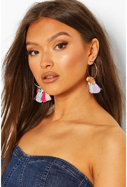 Multi Coloured Tassel Earrings , Gold
