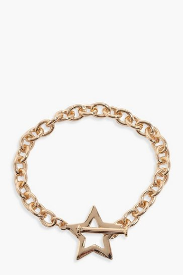 Gold Star & Bar Clasp Chain Bracelet