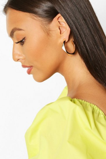 Gold Geo Shape Hoop Earrings