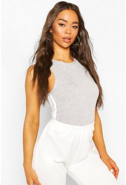 Grey marl Side Stripe Racer Bodysuit