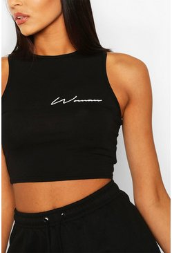 Black Woman Print Racer Crop Top