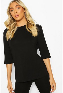 Woman Script Back Print Oversized T-Shirt, Black
