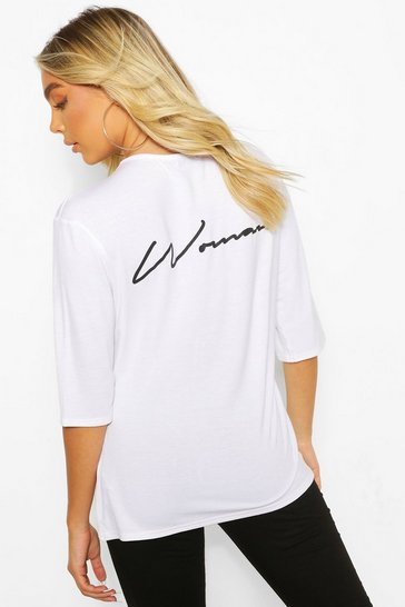 White Woman Script Back Print Oversized T-Shirt