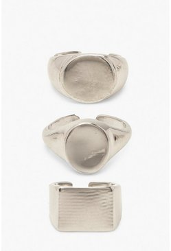 Silver Chunky Adjustable Size Ring 3 Pack