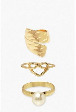 Gold Pearl Heart & Twist Ring 3 Pack