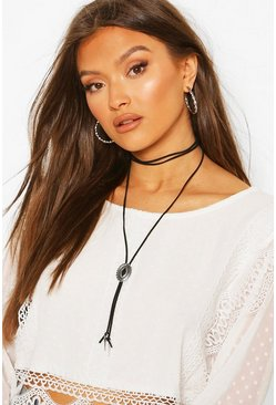 Black Western Metal Coin Detail Wrap Around Choker