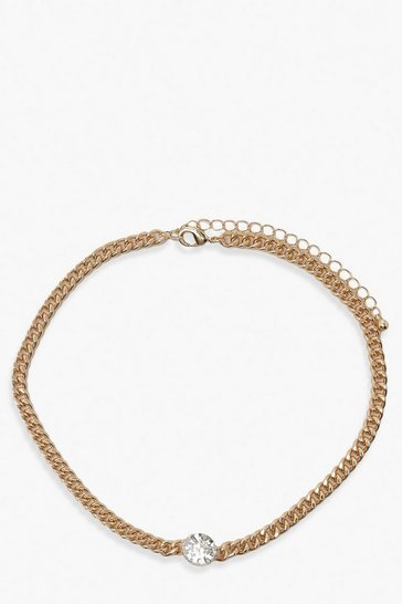 Gold Diamante Gem Chain Link Choker