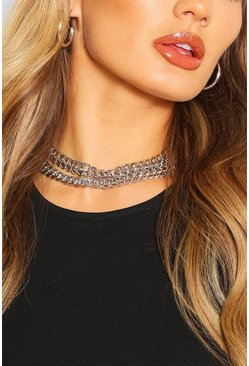 Silver Chunky Chain Statement Layered Necklace