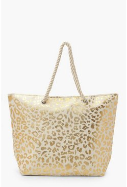 Gold Metallic Leopard Rope Handle Beach Bag