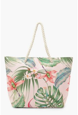 Pink Tropical Rope Handle Beach Bag