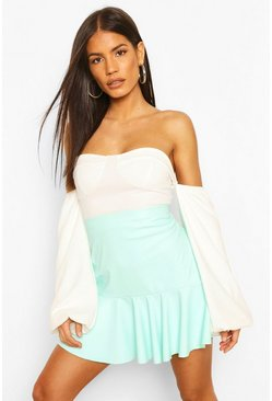 Mint Pastel Faux Leather Peplum Mini