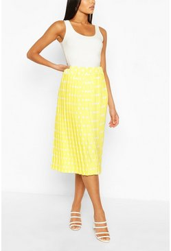 Yellow Polka Dot Pleated Woven Midi Skirt