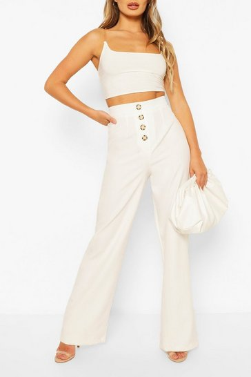 Ivory Button Front Pocket Side Woven Wide Leg Trouser