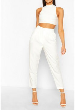 Ivory Pleat Front Relaxed Fit Woven Trousers