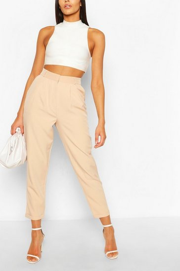 Sand Pleat Front Relaxed Fit Woven Trousers