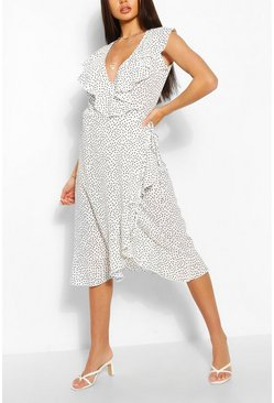 White Sleeveless Polka Dot Frill Wrap Midi Dress
