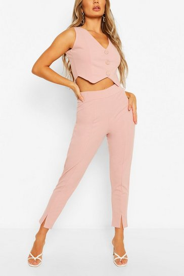 Light pink Split Hem Tailored Trouser