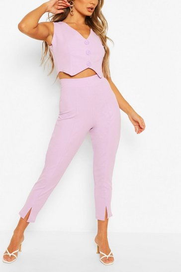 Lilac Split Hem Tailored Trouser