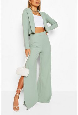 Sage Crop Blazer & Split Wide Leg Trouser Suit Set